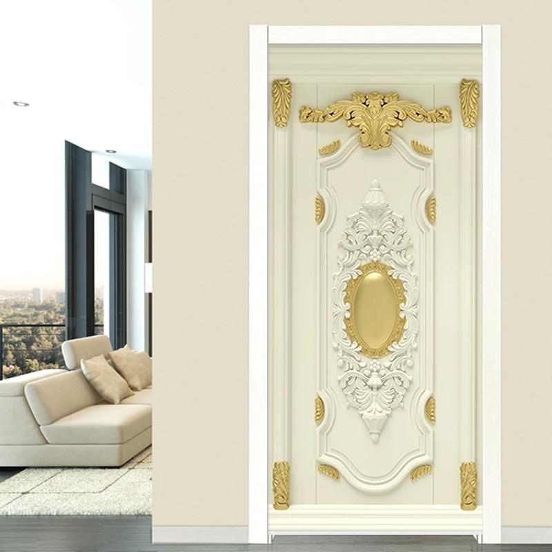 3D Luxury Home Decor Door Sticker European Style Golden Flowers Mural Wallpaper Living Room Bedroom 3D Self-Adhesive Door Poster