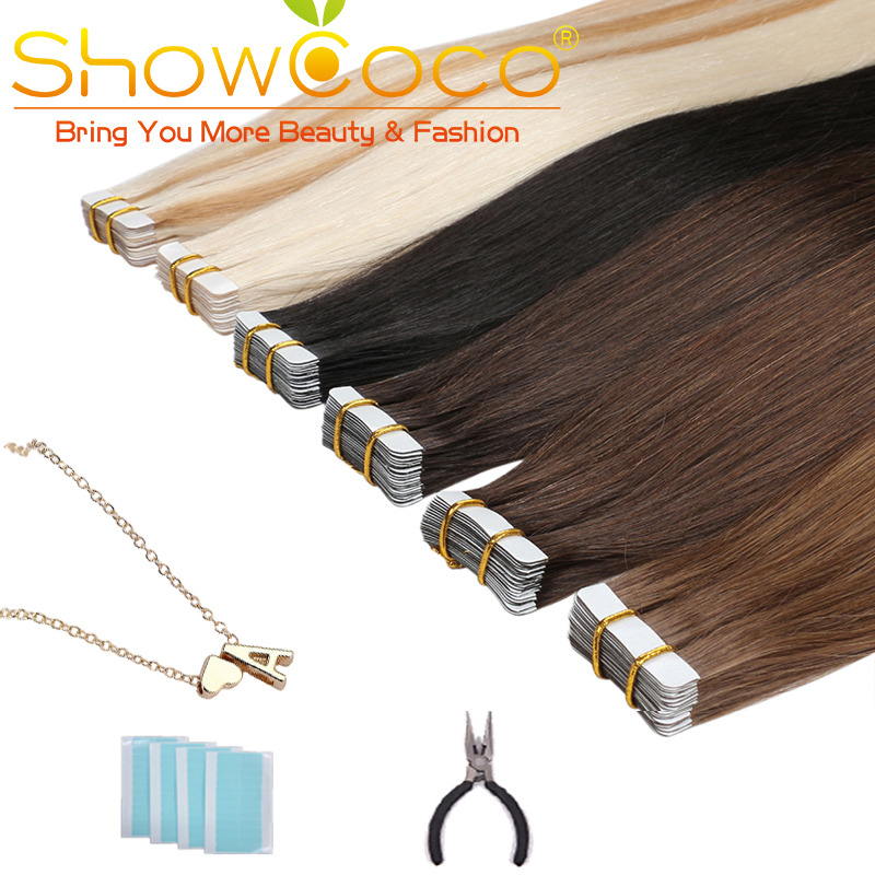 ShowCoco Tape in Human Hair 40pcs Adhensive Machine-Made Remy Straight Hair 16-24 Inch Invisible Natural Tape Extensions