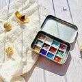 Artesanal 12 cores glitter água cor conjunto acuarelas metálico ouro aquarela pigmento pintura artista aquarelas arte suprimentos