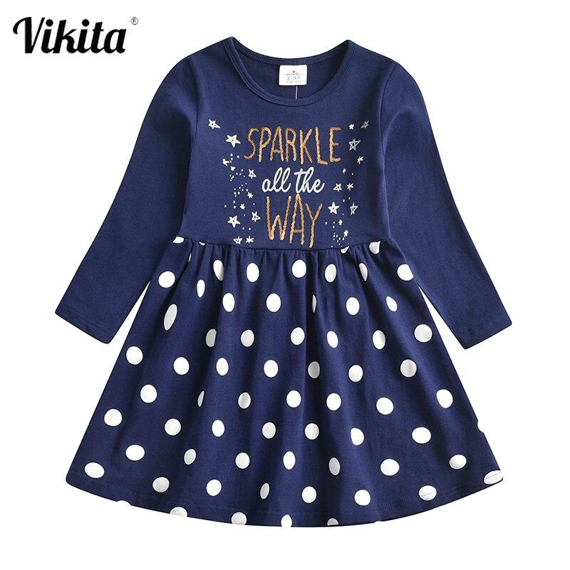 Vikita crianças vestido de natal para a menina crianças lantejoulas vestidos crianças polka dot algodão vestido meninas princesa vestidos casuais