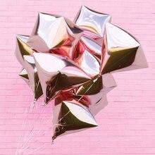 Balões quadrados de diamante de 24 polegadas 4d, balões redondos de alumínio para decoração de chá de bebê, aniversário, celebração de casamento, 1 peça