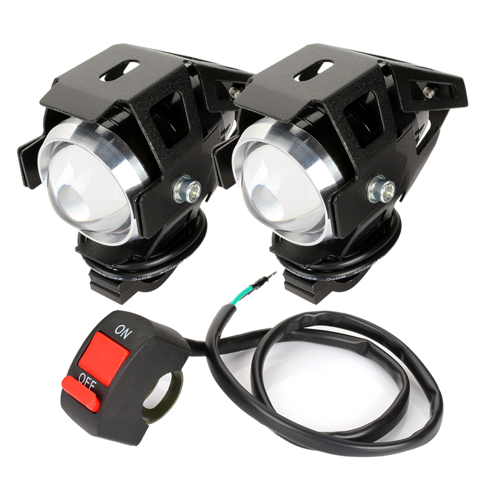 1pair Motorcycle Headlights U5 Led Moto Light DRL Headlamp Motorbike Auxiliary Lamp Fog Spotlights Universal D40
