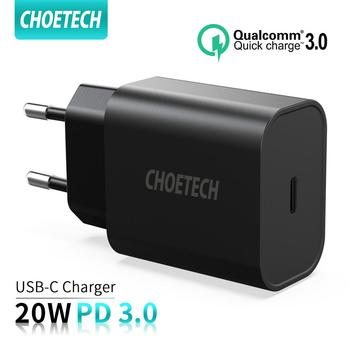 CHOETECH Quick Charge 3.0 20W USB-C Power Adapter Fast PD Charger For iPhone 11 12 Xs X 8 PD 3.0 USB Type C Charger Wall Charger