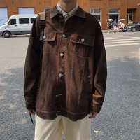 2019Spring And Autumn New Youth Male Hit Color Line Japanese Retro Jacket Single-breasted Shirt Black Military Green /Brown M-XL
