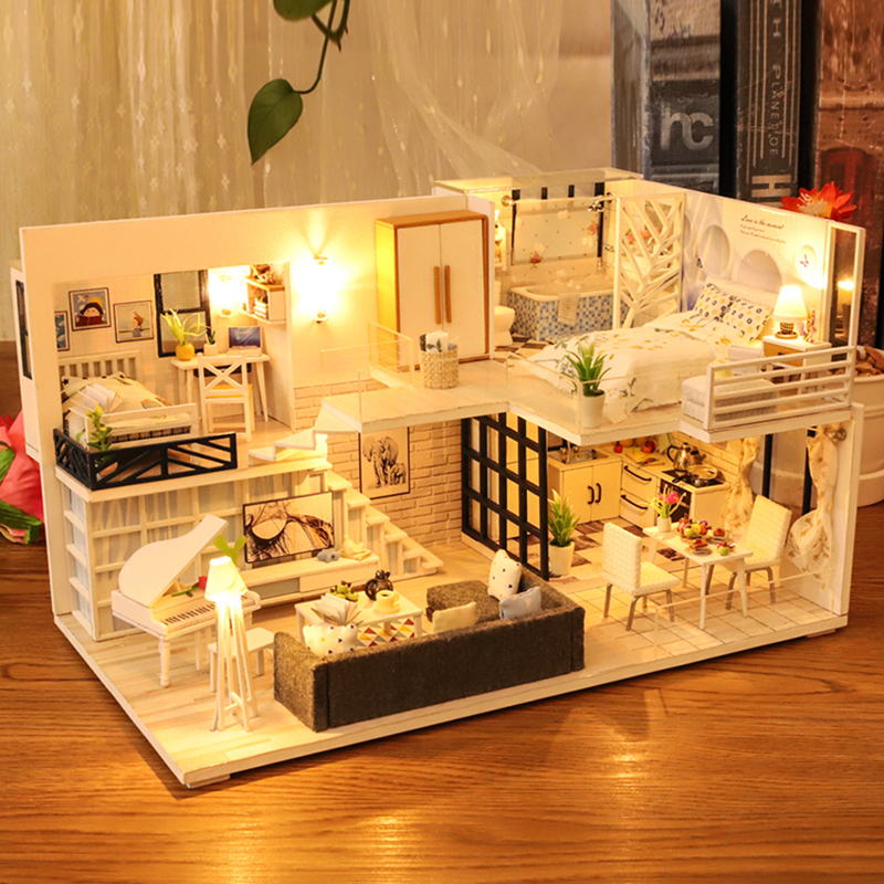 CUTEBEE DIY Dollhouse Wooden Doll Houses Miniature Doll House Furniture Kit Casa Music Led Toys For Children Birthday Gift M21B