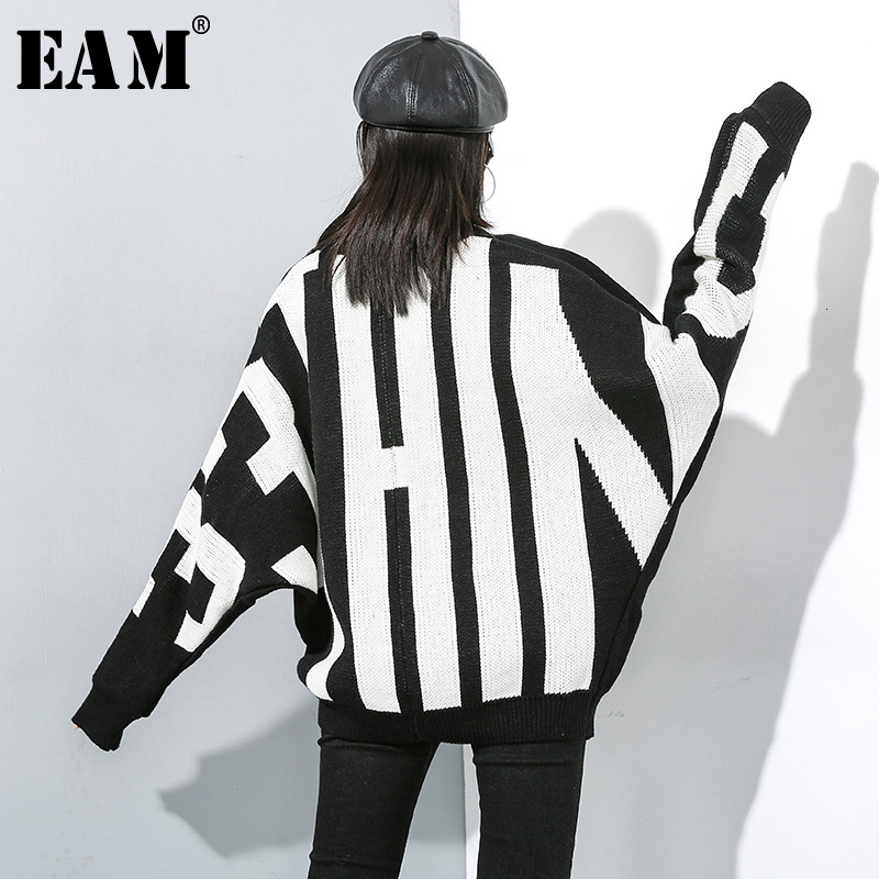[EAM] Letter Big Size Knitting Sweater Loose Fit Round Neck Long Sleeve Women Pullovers New Fashion Spring Autumn 2020 19A-a795
