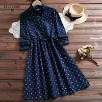 Herbst Frühling Frauen Vintage Kleider Rüschen Polka Dot Gedruckt Lace Up Vestidos Femininos Navy Blau Kordelzug Taille A-linie Kleid