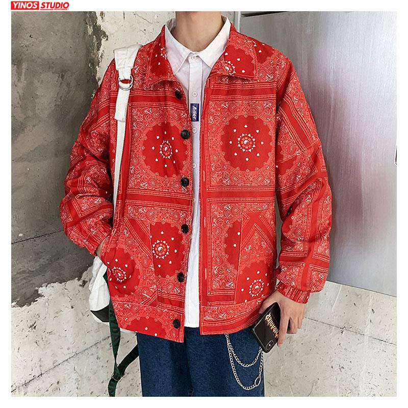 Dropshipping Men Streetwear Causal Print Tops 2020 Spring Lapel Shirt Korean Harajuku Long Sleeve Shirts 5XL