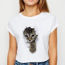 Футболка с изображением кота новые модные женские футболки kawaii