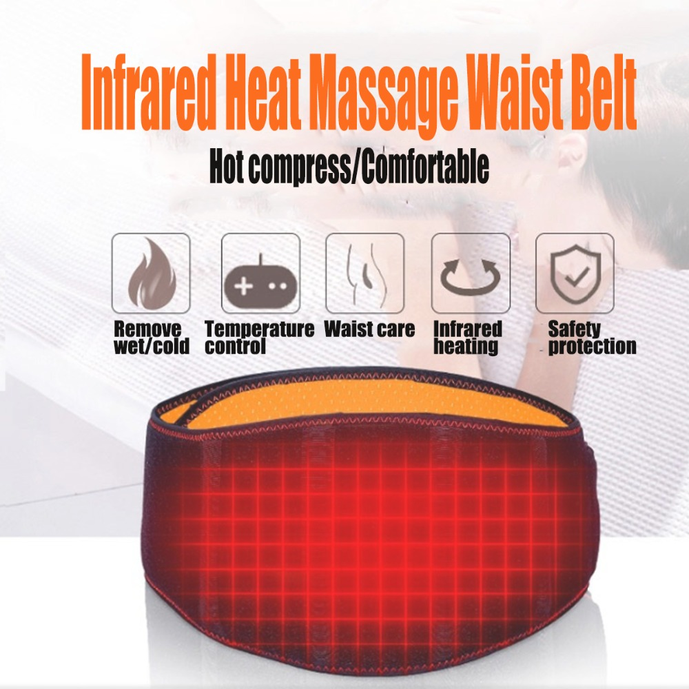 USB Electric Heating Belt Back Massage Infrared Tourmalin Waist Support Brace Band Warmer Relief Pain Belly Thermal Heat Pad