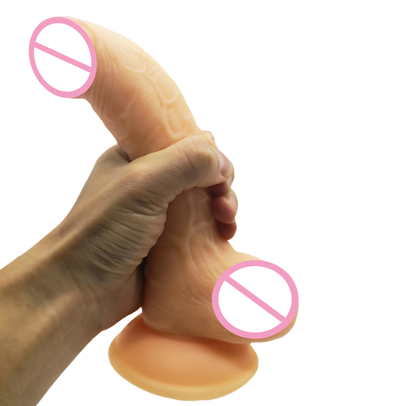 Realistic <font><b>Dildo</b></font> Simulated Testis Adult Sex Toys for Woman PVC Health Materials Dick Foreskin Huge <font><b>Dildo</b></font> Strong Suction Cup Penis image