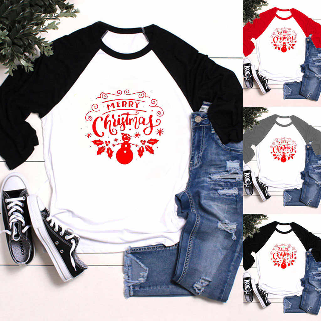 Vintage camisas mujer 2020 t koszula kobiety dorywczo nadruk świąteczny z długim rękawem O-Neck luźny t-shirt topy ropa mujer poleras