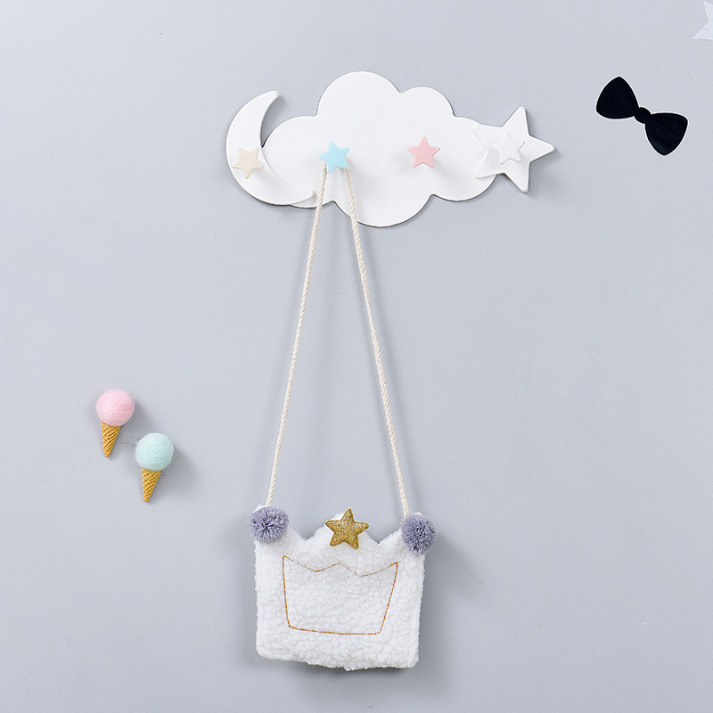 Cute Star Moon Cloud Shape Nail-free Wall Clothes Hooks Kids Room Decorative Key Hanging Hanger Kitchen Storage Hook