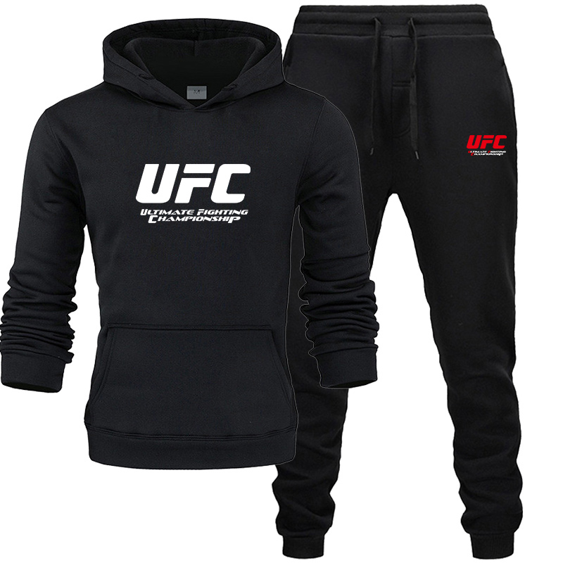 Men Track Suit Fashion Hoodies+ Joggers Pants Men UFC Pattern Print Set Ultimate Fighting Championship Sportswear Autumn Winte