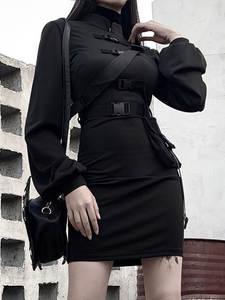 Rosetic Bandage-Dress Short Punk-Belt Long-Sleeve Vestidos Streetwear Black Mini Goth