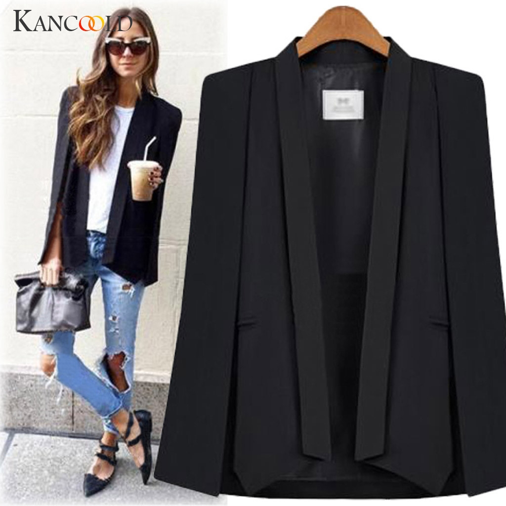 KANCOOLD Shawl Collar Split Sleeve Cloak Blazer Cape 2019 New Women's Autumn Solid Color OL Suit Jacket Coat Blazer