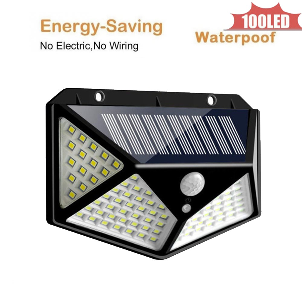 Outdoor 100 LED Solar Light Waterproof Auto PIR Motion Sensor Solar Wall Light Adjustable Solar Lamp For Garden Lighting 4 Sided
