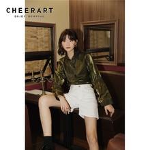 Cheerart Glitter Gold Blouse Long Sleeve Shirt Puff Sleeve Ladies Blouse Women Drawstring Sleeve Top Korean Fashion Clothing shirred drawstring split sleeve top