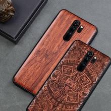 Capa de telefone para xiaomi redmi note 8 pro, em madeira real, tpu acessórios do telefone pro