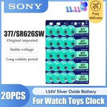 20 pces 100% sony original 1.55v 377 sr626sw sr626 ag4 prata óxido relógio bateria sr626sw 377 botão pilha da moeda feita no japão