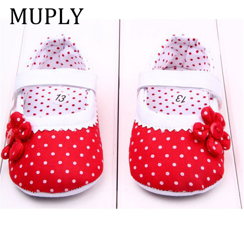New Arrival Baby Girls Shoes Princess Dots Flowers Soft Cotton Newborn Toddler Crib Shoes Infant Sole Anti-slip First Walker