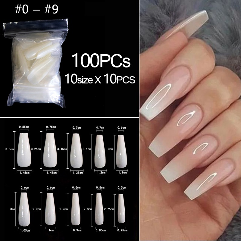 500/100pcs False Coffin Nails Ballerina Fake Nails Flat Shape Nail Art Tips Natural Clear Full Cover Manicure Fake Nail Tips