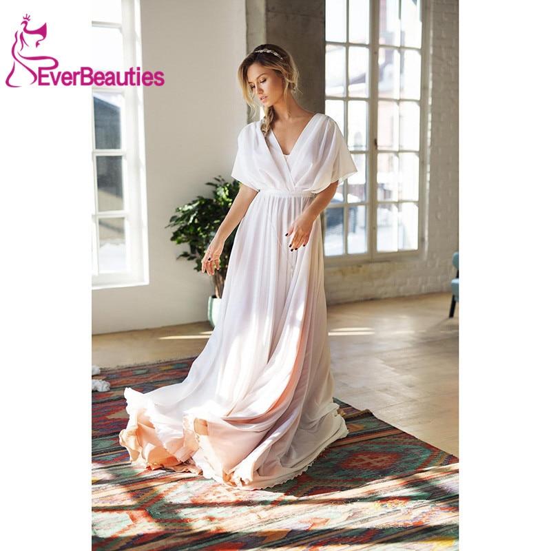 Robes de bal en mousseline de soie vestido de noiva blanc ivoire robes de mariée 2019 avec perles robe de mariée mariage taille sur mesure