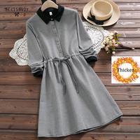 Robe Femme Autumn Winter Warm Thick Casual Shirt Dress For Women Vintage Plaid Mori Girl Vestidos Korean Sweet A Line Dress