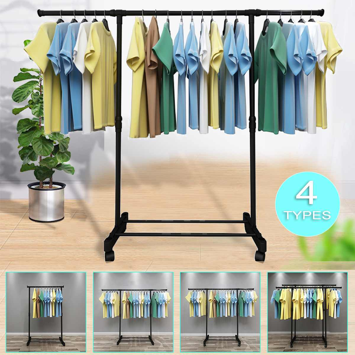 Coat Rack Thicken Steel 30KG Load Easy Assembly Removable Wheeled Bedroom Clothes Hanger Drying Furniture Clothes Hanger Stand