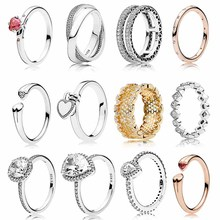 925 Sterling Silver Original 1:1 Red Heart-shaped Crystal You & Me Honeycomb Lace Two Hearts Open Femal Ring DIY Fashion Jewelry