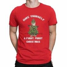 Camiseta de gato de natal para homem 100% algodão
