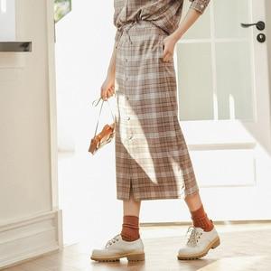 Image 4 - INMAN зимняя однотонная однобортная трапециевидная юбка в стиле ретро