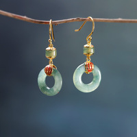 S925 Sterling Silver Gold plated Burnt Blue Women's Jade Earrings