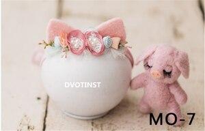 Image 4 - Dvotinst新生児の写真の小道具ベビー花柄ヘッドバンドボンネットかわいいanimial人形fotografia accessorioスタジオ撮影写真の小道具