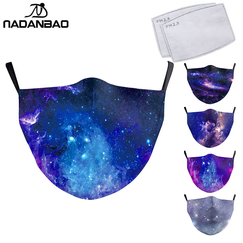 NADANBAO Colorful Starry Sky Print Face Mask Galaxy Adult Washable Fabric Mask PM 2.5 Protective Dust Mouth-Muffle Reusable