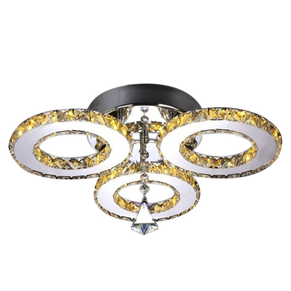 Led Ceiling Lamp Crystal Chandelier Round Warm Bedroom Living Room Lamp Restaurant Simple Modern Atmosphere Lighting