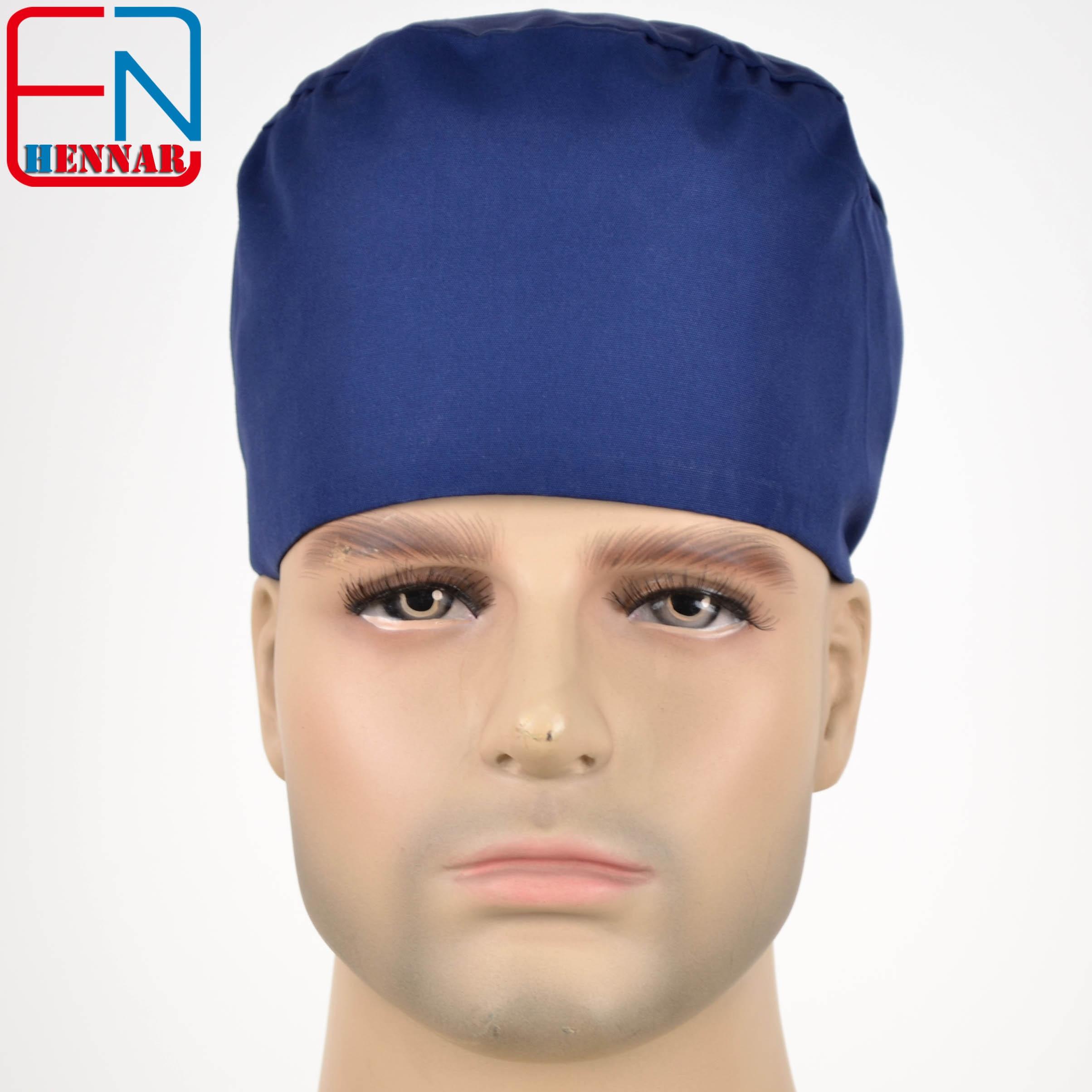 Hennar Surgical Scrub Caps  Navy Blue Mens Scrub Caps High Quality Gourd Hats Clinic Hospital Surgical Laboratory Pharmacy Caps