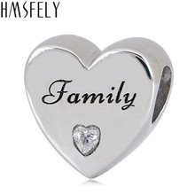 HMSFELY European Heart Shape Family Forever Beloved Beads For DIY Bracelet Jewelry making Accessories 316l Stainless Steel