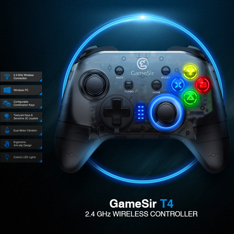 GameSir T4 USB Wired Gamepad for PS3 with D-Pad Joystick/Colorful LED and Motor Vibrator 2