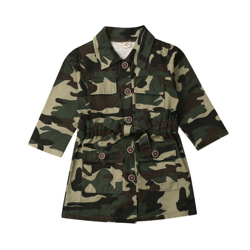 Maximum supplier US Toddlers Girls Long Sleeve Lapel Trench Casual Camouflage Jacket Coat Outwear(China)