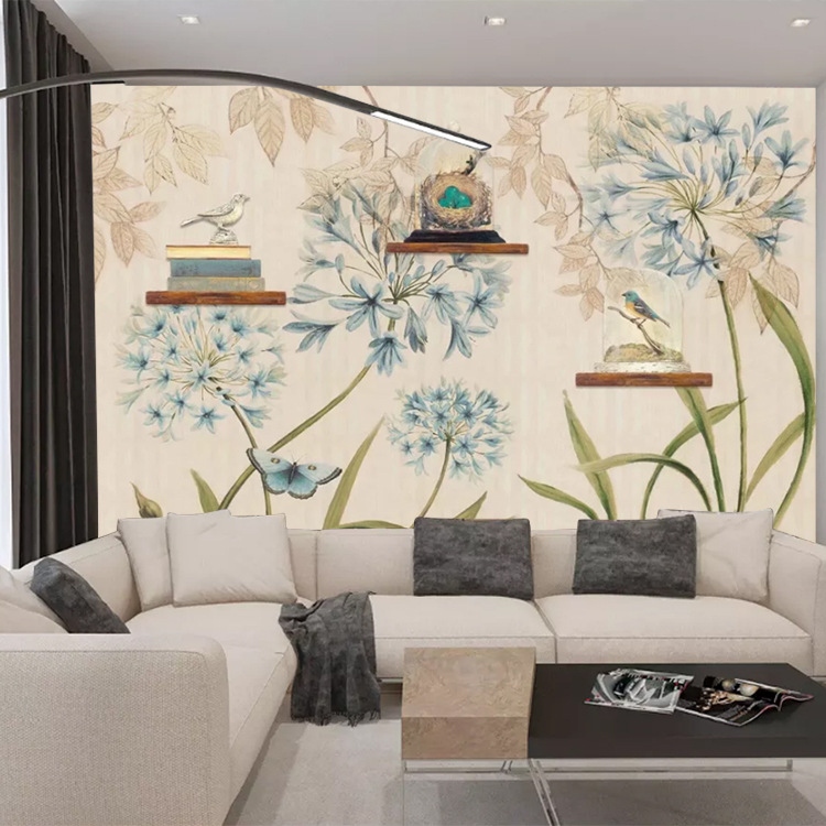 European Style TV Backdrop Wallpaper Pastoral Style Flowers And Birds Minimalist Modern TV Wall Mural Stereo Living Room Bedroom