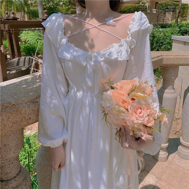 Long White Fairy Princess Dress Elegant Long-Sleeve 3