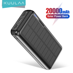 KUULAA Solar Power Bank 20000mAh Portable Charging PowerBank 20000 mAh Outdoor USB PoverBank External Battery Charger For Xiaomi