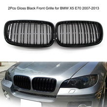 2Pcs Car Front Grille for BMW X5 E70 2007-2013 Gloss Black Front Bumper Hood Kidney Grille