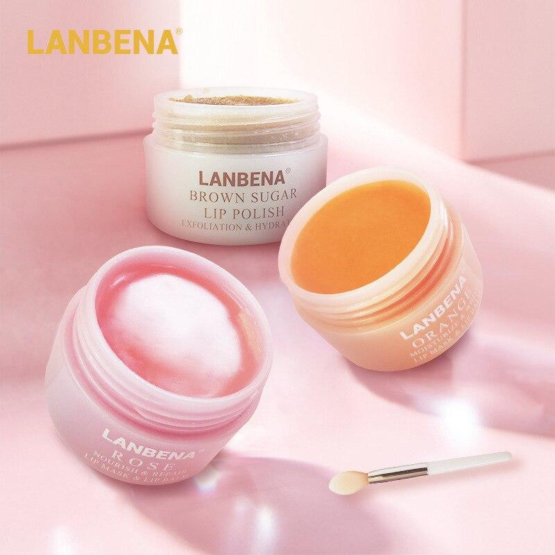 Lip Scrub Lip Sleeping Mask Lip Balm Mask Lips Plumper Lip Care Oil Exfoliating Moisturizing Nourish Repair Fine Lines LANBENA