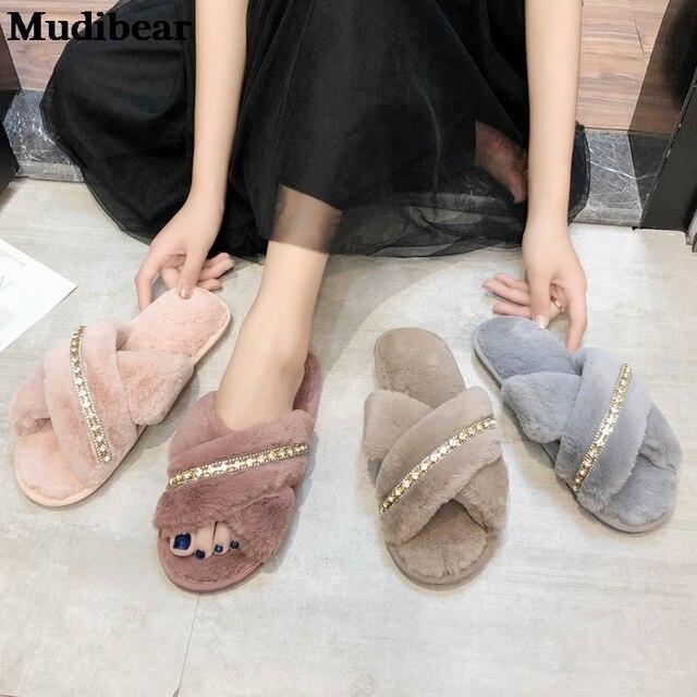 Купить mudibear/новый стиль кросс лучшие женские плюшевые тапки для картинки цена
