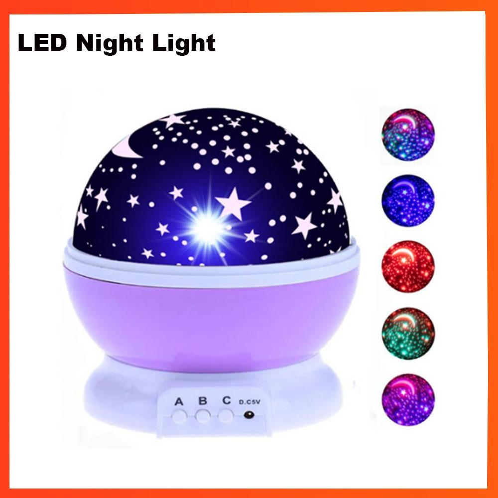 Christmas Gift LED Night Light Projector Star Moon Sky Rotating Sleep Romantic LED USB Projection Lamp For Children Baby Bedroom