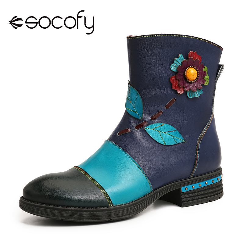 SOCOFY Retro Boots Botas Mujer Floral Genuine Leather Comfy Splicing Pattern Zipper Women Boots Elegant Shoes Women Winter
