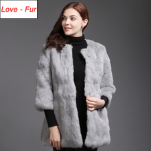 Real Fur Coat Winter Women Real Genuine Rabbit Fur Jackets Slim Warm Real Rabbit Fur Overcoat Full Pelt Female Rabbit Fur Coats cheap doakxol Casual Thick Warm Fur O-Neck Covered Button REGULAR Three Quarter STANDARD Love fur-4153 Solid Long 100 real genuine rabbit fur