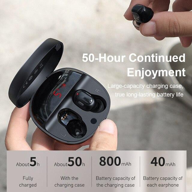 Baseus WM01 Plus TWS Wireless Earphone Bluetooth Headphone 5.0 True Wireless Earbuds Stereo Headset Mini In Ear Buds For Xiaomi